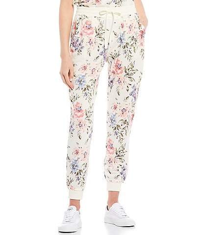 Honey & Sparkle Coordinating Floral Print Knit Jogger Pants