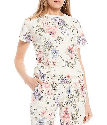 Honey & Sparkle Coordinating Floral Short-Sleeve Knit Top