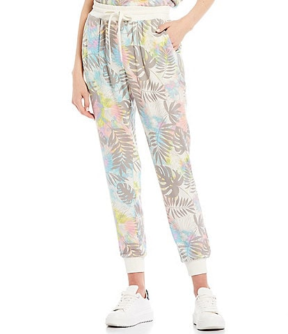Honey & Sparkle Coordinating Tropical Floral Print Knit Jogger Pants