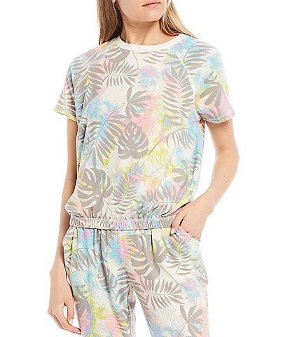 Honey & Sparkle Coordinating Tropical Print Short-Sleeve Hacci Knit Top