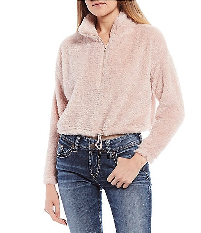 Honey & Sparkle Cropped Sherpa Quarter Zip Pullover