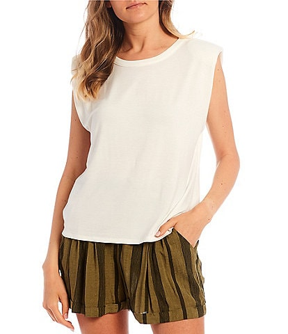 Honey & Sparkle Shoulder Pad Sleeveless Knit Top