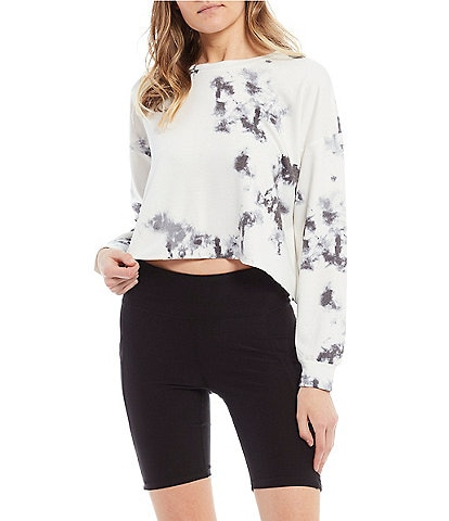Honey & Sparkle Tie-Dye Long-Sleeve Cropped Top
