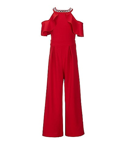 Honey and Rosie Big Girls 7-16 Jeweled Neck Cold-Shoulder Jumpsuit