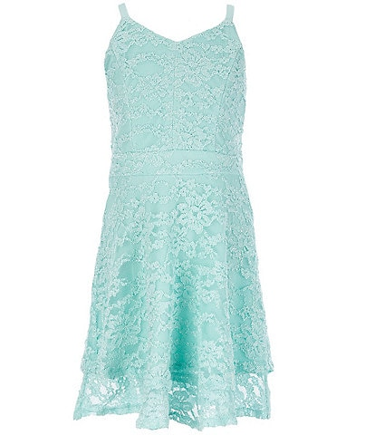 Honey and Rosie Big Girls 7-16 Lace Tiered A-Line Dress