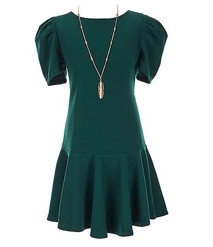 Honey and Rosie Big Girls 7-16 Puff Short-Sleeve Ruffled-Hem Fit-And-Flare Dress