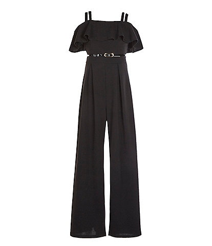 Honey and Rosie Big Girls 7-16 Ruffle-Bodice Belted Jumpsuit