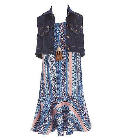 Honey and Rosie Big Girls 7-16 Sleeveless Mixed Print Ruffled Hem A-Line Dress With Vest Two-Piece Set