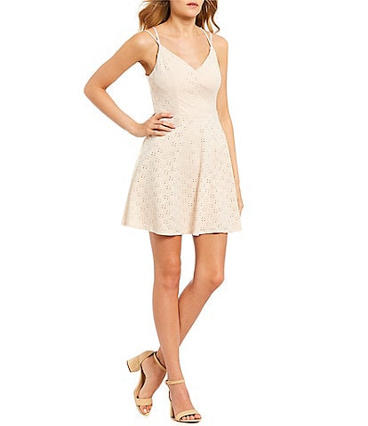 Honey and Rosie Eyelet Knit Fit-And-Flare Dress