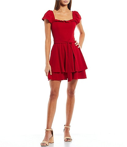 Honey and Rosie Flutter-Sleeve Fit-And-Flare Dress