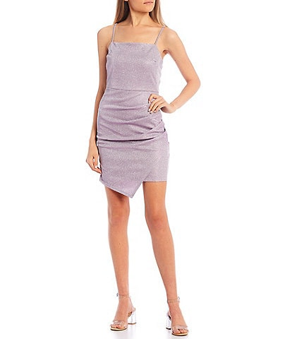 Honey and Rosie Glitter Metallic Faux Wrap Dress