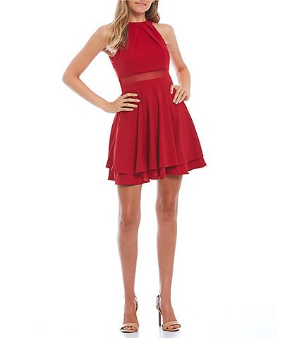 Honey and Rosie Halter Neck Illusion-Waist Fit-And-Flare Dress