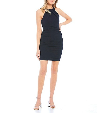 Honey and Rosie High-Neck Ruched Bodycon Dress