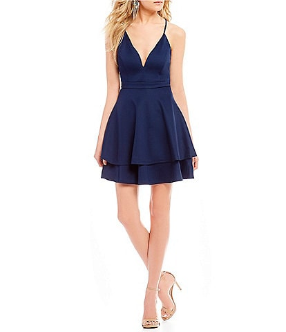 Honey and Rosie Lace Back Double Hem Fit-And-Flare Dress