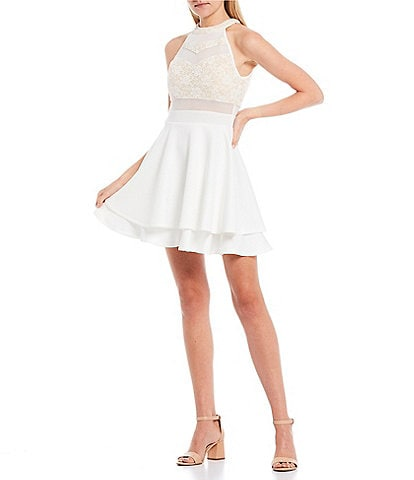 Honey and Rosie Lace Bodice Illusion Inset Fit-and-Flare Dress