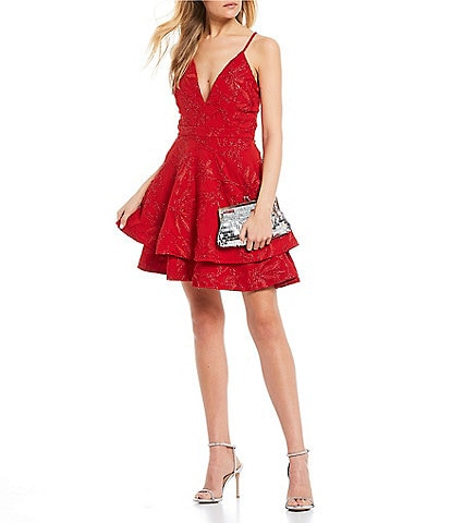 Honey and Rosie Lace Bra-Back Double Hem Fit-and-Flare Dress