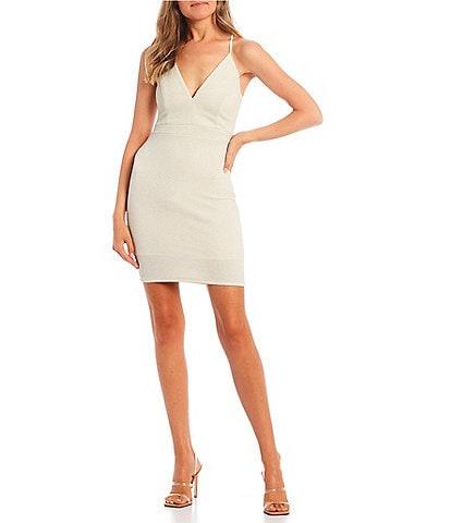 Honey and Rosie V-Neck Lace-Bra Back Metallic Glitter Bodycon Dress