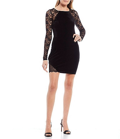 Honey and Rosie Long Lace Sleeves Velvet Bodycon Dress