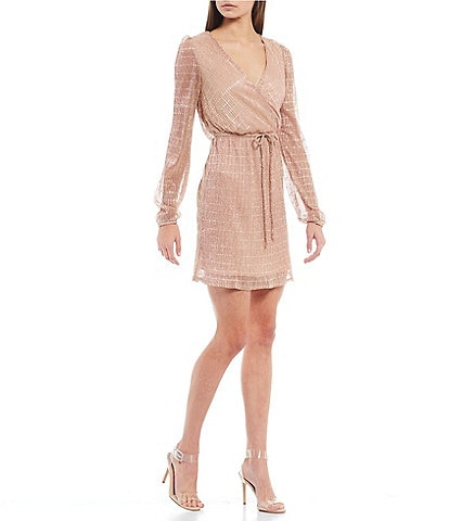 Honey and Rosie Long-Sleeve Lurex Shine Faux-Wrap Dress
