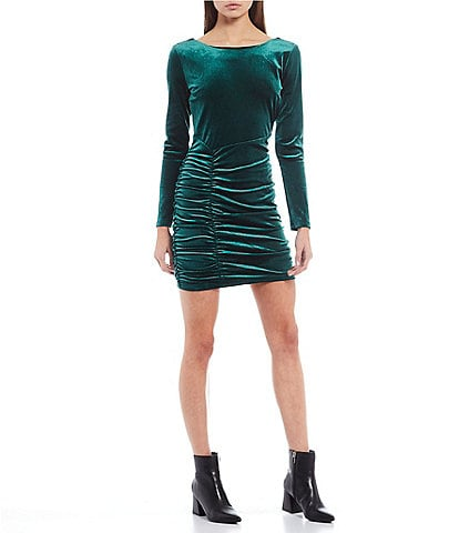 Honey and Rosie Long-Sleeve Open-Back Velvet Ruched Bodycon Dress