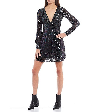 Honey and Rosie Long Sleeve Plunging V-Neck Sequin Dress