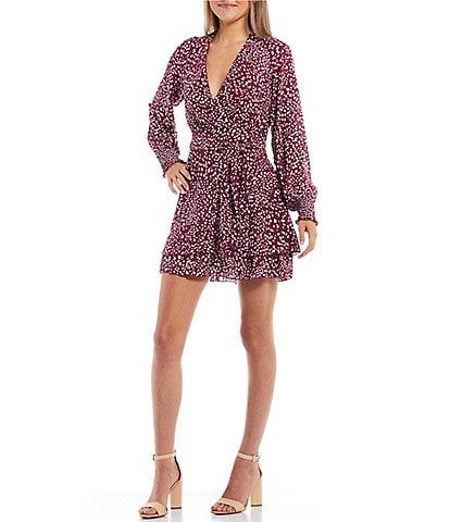 Honey and Rosie Long-Sleeve Printed Double-Ruffle-Hem Dress