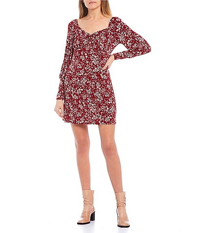 Honey and Rosie Long-Sleeve Sweetheart-Neck Ditsy Print Dress