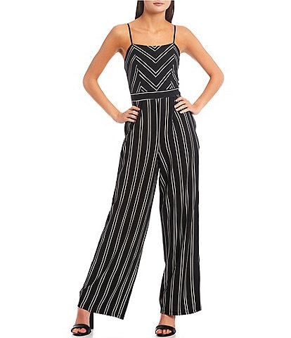Honey and Rosie Mixed-Media-Striped Jumpsuit