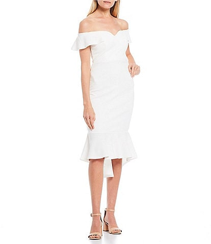 Honey and Rosie Off-The-Shoulder Cap Sleeve Ruffle Dress