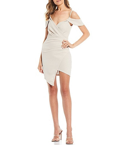 Honey and Rosie Off-The-Shoulder Surplice V-Neck Glitter Waffle Faux-Wrap Dress