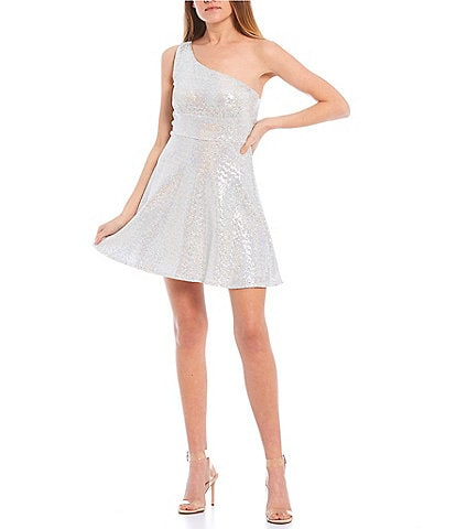 Honey and Rosie One-Shoulder Sequin Disco-Dot Fit-and-Flare Dress