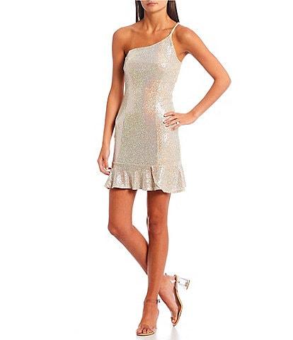 Honey and Rosie One-Shoulder Shiny Metallic Sequin-Embellished Flounce-Hem Sheath Dress
