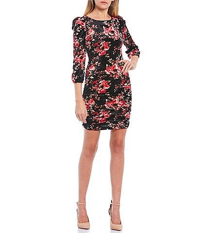 Honey and Rosie Puff Sleeve Shirred Side Floral Print Dress