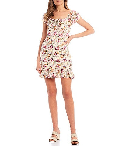Honey and Rosie Short Puff Sleeve Floral Print Lace Dress
