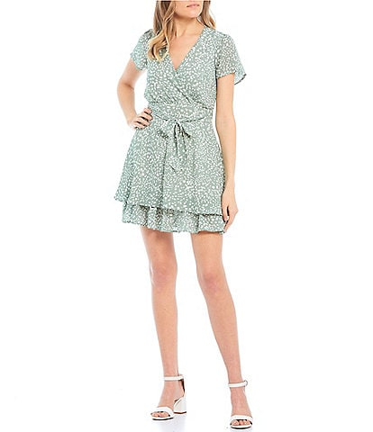 Honey and Rosie Short Sleeve Surplice Printed Dress