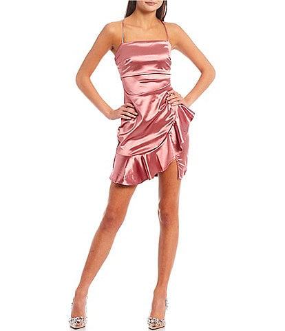 Honey and Rosie Sleeveless Square Neck Crisscross-Back Asymmetrical Ruffle-Hem Satin Sheath Dress