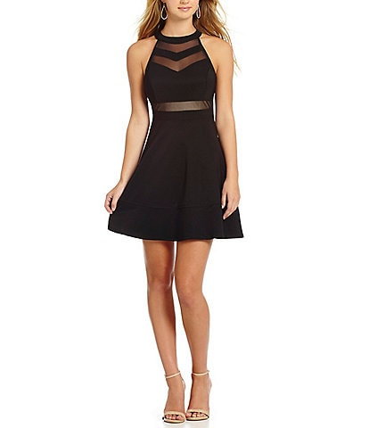 Honey And Rosie Sleeveless High Neckline Illusion Skater Mini Dress