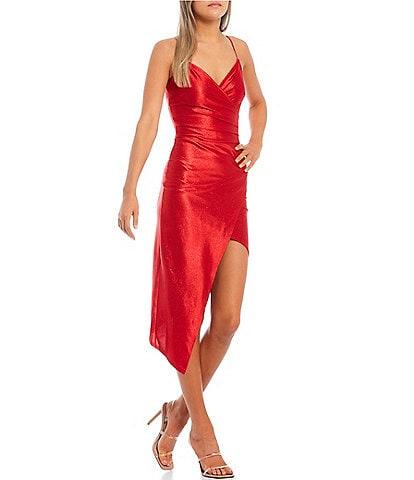 Honey and Rosie Spaghetti Strap Asymmetric-Hem Faux-Wrap Shimmery Stretch Satin Dress