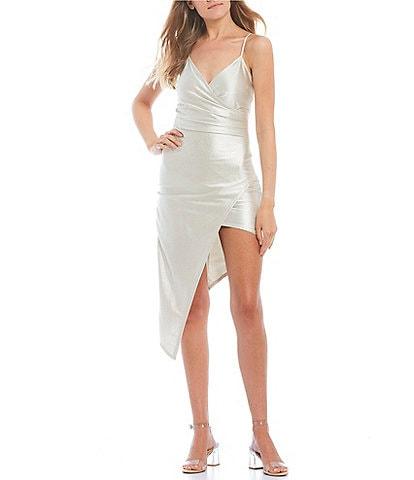 Honey and Rosie Spaghetti Strap Asymmetric Hem Faux-Wrap Dress