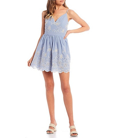 Honey and Rosie Spaghetti Strap Embroidered Fit-and-Flare Dress