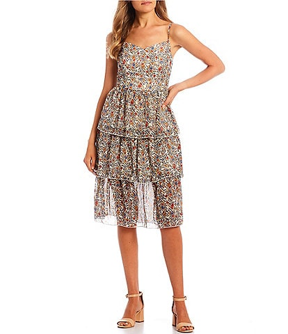 Honey and Rosie Spaghetti Strap Sweetheart Shirred Foil-Printed Tiered Skirt Fit-and-Flare Dress