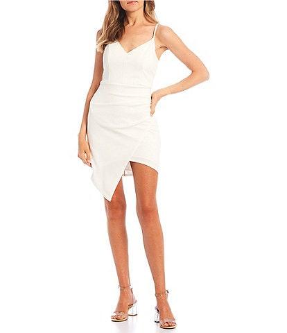 Honey and Rosie Spaghetti Strap V-Neck Asymmetric Hem Bodycon Dress