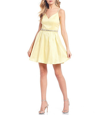 Honey and Rosie Spaghetti Strap V-Neck Beaded Waist Fit and Flare Dress