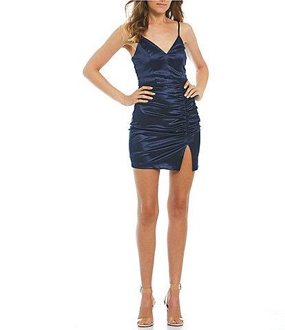 Honey and Rosie Spaghetti Strap V-Neck Ruched Satin Bodycon Dress