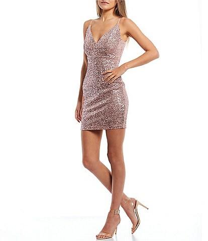 Honey and Rosie Spaghetti Strap V-Neck Sequin-Embellished Sheath Dress