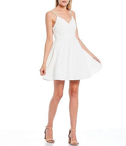Honey and Rosie Spaghetti Strap V-Neck Skater Dress