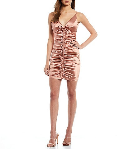 Honey and Rosie Spaghetti Strap V-Neck Tie-Front Ruched Bodycon Dress