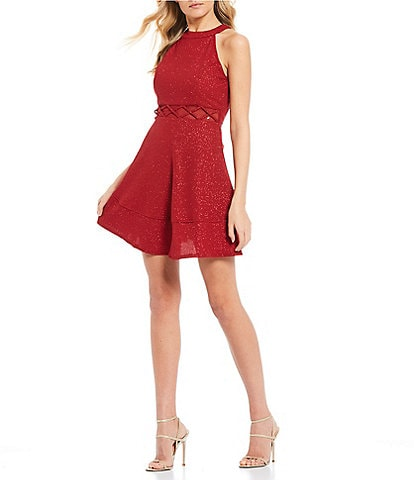 Honey and Rosie X-Waist Glitter Fit-and-Flare Dress
