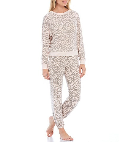 Honeydew Intimates Leopard Print Jewel Neck Brushed Jersey Lounge Set