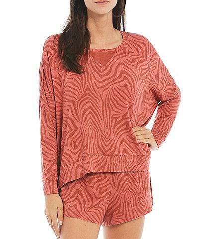 Honeydew Intimates Starlight Sedona Zebra Print French Terry Lounge Coordinating Sweatshirt